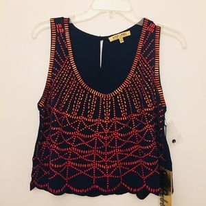 NWT GOLD LABEL WOW COUTURE NAVY BEADED TOP